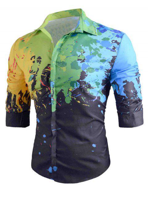 Chemise Décontractée à Peinture Éclaboussée Boutonnée - Noir 2XL Mobile