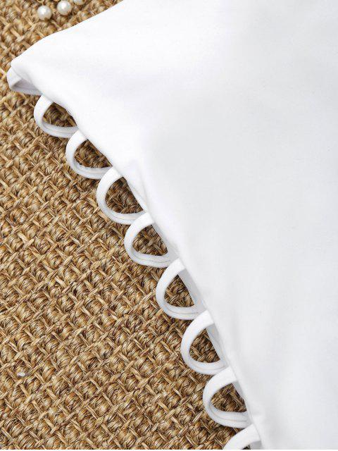 Traje de baño de corte escalera ladder - Blanco S Mobile