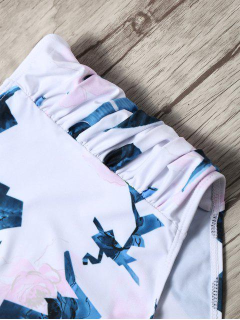 GeschichtetesSchulterfreier Hoch Taillierter Bikini Set - Weiß S Mobile