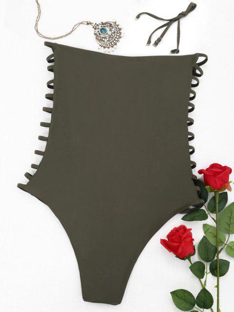 hot Ladder Cut Bandeau Swimwear - ARMY GREEN L Mobile