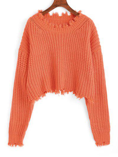 Frayed Chunky Crop Sweater - Orange