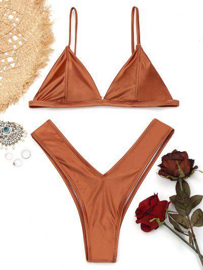 Padded High Cut Thong Bikini Set - Brown M