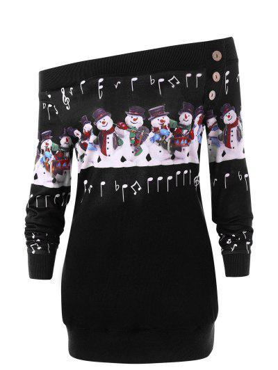 Christmas Plus Size Snowman Off The Shoulder Sweatshirt - Black 4xl