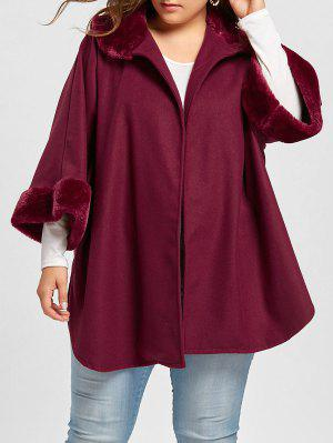 Plus Size Plush Trim Dolphin Hem Coat