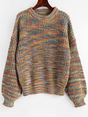 Lantern Sleeve Multicolored Chunky Sweater , Multi