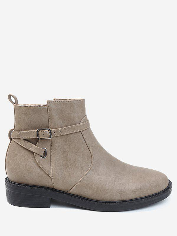 Almond Toe Buckle Wrap Stacked Heel Ankle Boots