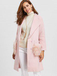 معطف من مزيج من الصوف ذو جيوب من الفرو وياقة - زهري L