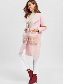 Fur Pockets Shawl Collar Wool Blend Coat PINK: Jackets & Coats XL ...