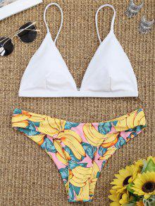 Sujetador De Bikini Acolchado Con Parte Inferior Estampada De Plumón - Blanco M
