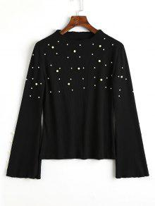 Ribbed Flare Sleeve Faux Pearls Sweater