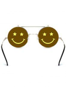 d9cb350b3d 31% OFF  2019 Funny Smiling Face Flip-open Circle Shaped Sunglasses ...