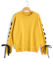 Suéter Con Cordones De Jersey Alto Y Bajo - Amarillo
