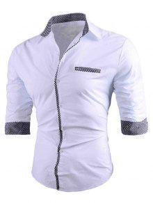 منقوشة تريم عارضة قمصان طويلة الأكمام - أبيض M
