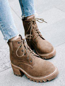 Faux Suede Lace Up Chunky Heel Boots