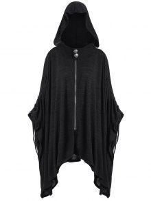 زائد الحجم غير المتماثلة مقنعين معطف الرأس - أسود 4xl