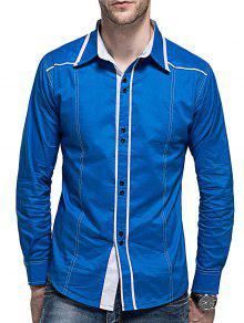 قميص كم طويل منحني تنحنح زر - أزرق M