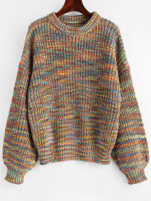 Lantern Sleeve Multicolored Chunky Sweater