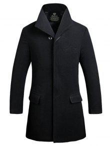 غطاء بلاكيت واحدة الصدر لونغلاين معطف الصوف - أسود L
