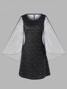 Robe Galaxy Avec Manches évasées Et Grande Taille - Noir 5xl