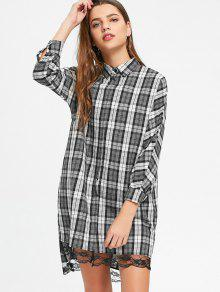 Lace Panel High Low Checked Shirt Vestido - Verificado L