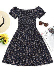 فستان مصغر بلا اكتاف سموكيد طباعة الأزهار المصغرة - الأرجواني الأزرق L