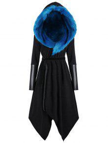 معطف الحجم الكبير غير متماثل  - اسود وازرق 4xl