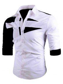 رفض طوق اثنين لهجة قميص - أبيض M