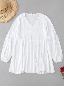 الشيفون الغطاء متابعة اللباس - أبيض