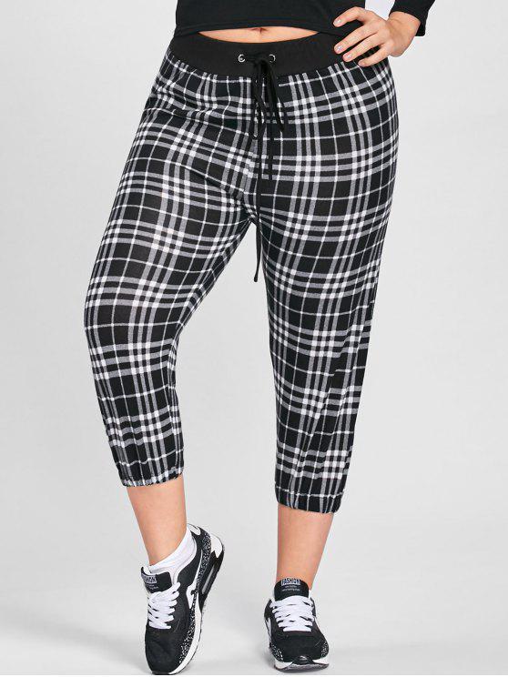 best Plus Size Plaid Drawstring Capri Pants - BLACK WHITE 2XL