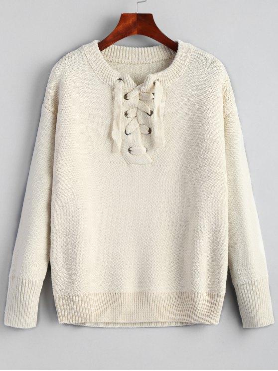 8e32358316c affordable Drop Shoulder Plain Lace Up Sweater - BEIGE ONE SIZE