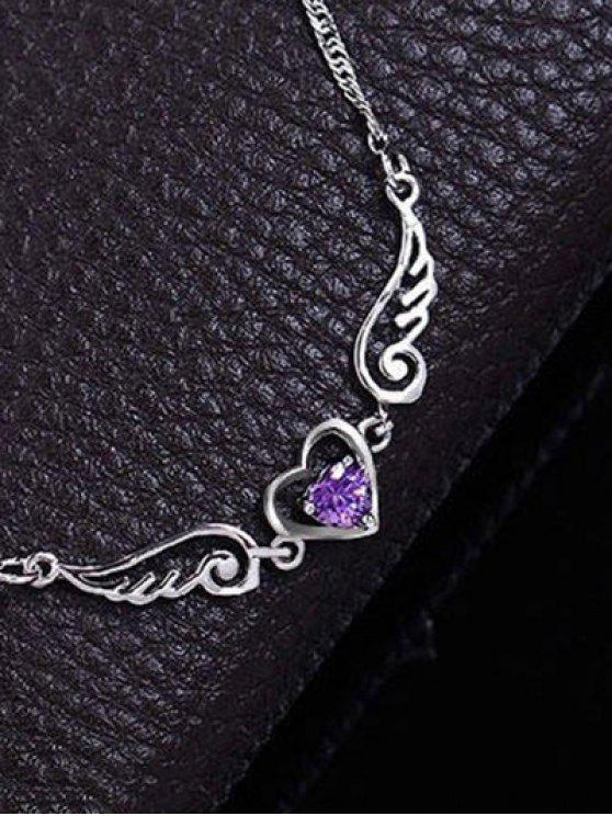 shop Faux Amethyst Heart Angel Wings Necklace - PURPLE