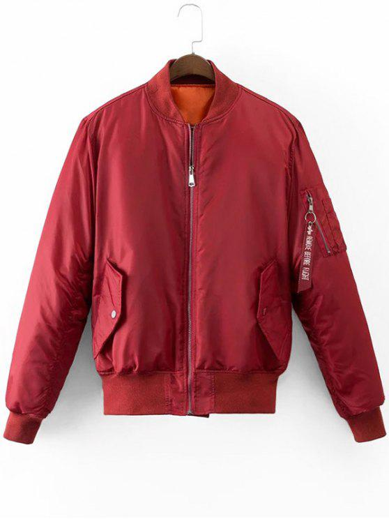 Graphic Back Zip Up Puffer Jacket - Vermelho Escuro M