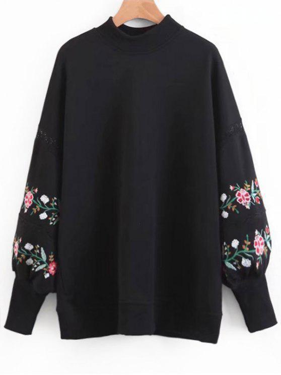 ladies Floral Embroidered Lantern Sleeve Sweatshirt - BLACK S