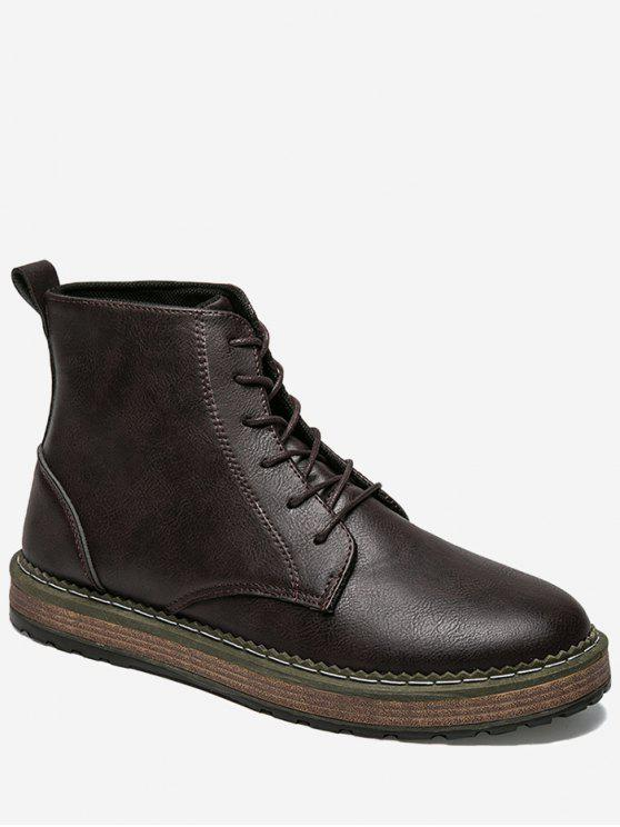 buy PU Leather Lace Up Short Boots - DEEP BROWN 44