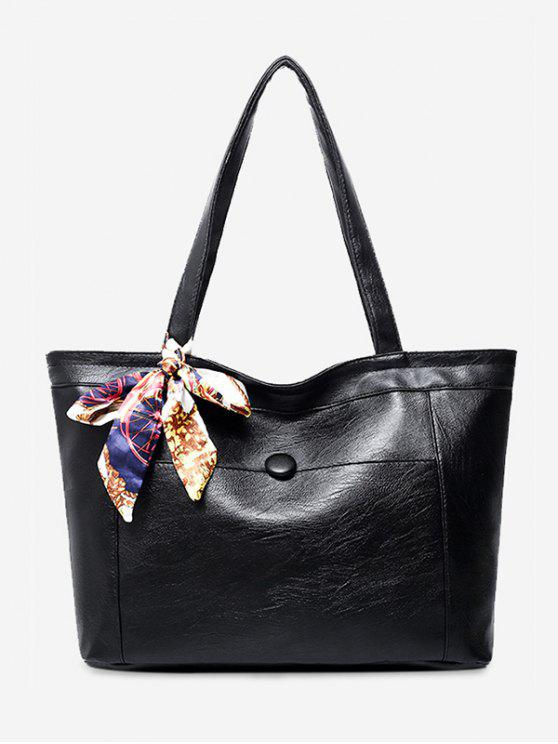 unique Faux Leather Scarf Shoulder Bag - BLACK