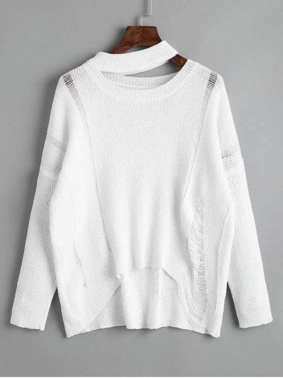 unique Cutout Destroyed High Low Sweater - WHITE ONE SIZE
