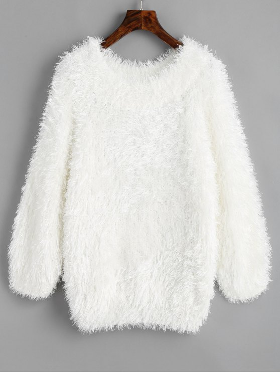 buy Pullover Raglan Sleeve Textured Sweater - WHITE ONE SIZE