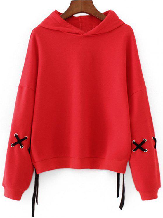 shop Drop Shoulder Lace Up Sleeve Hoodie - RED M