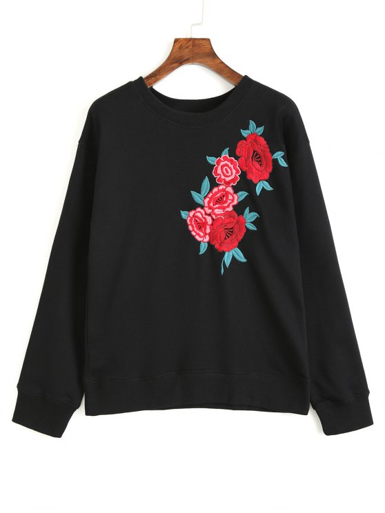 White Letter And Cactus Embroidered Sweatshirt Mobile Site