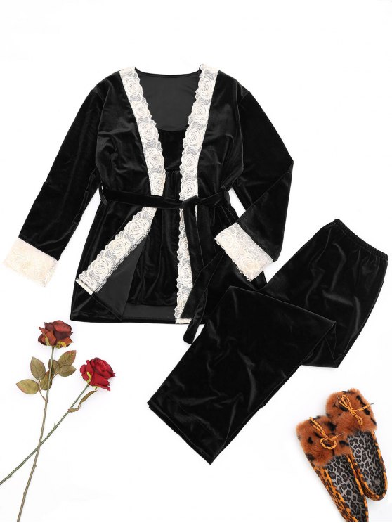 ladies Lace Trim Velvet Sleepwear Set - BLACK L