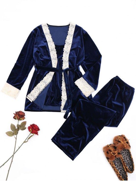 الدانتيل تريم المخملية مجموعة ملابس النوم - ازرق غامق M