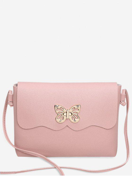 fancy Metal Embellished Butterfly Crossbody Bag - PINK