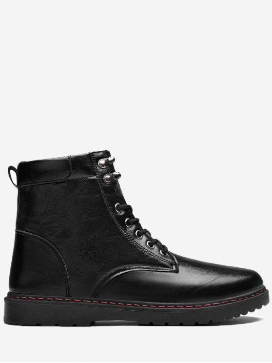 trendy Side Zip Lace Up Front Chukka Boots - BLACK 39