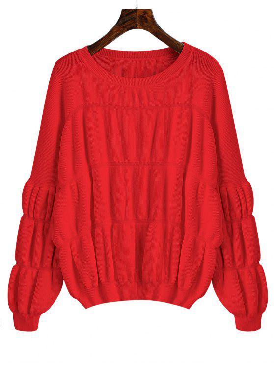 Pullover Lantern Ärmel Übergroße Pullover - Rot Eine Größe