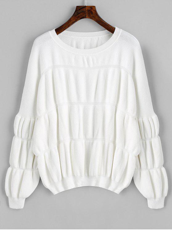 Pullover Lantern Ärmel Übergroße Pullover - Weiß Eine Größe