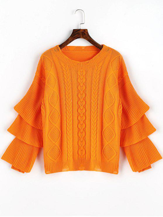 chic Layered Sleeve Pullover Cable Knit Sweater - ORANGE RED ONE SIZE