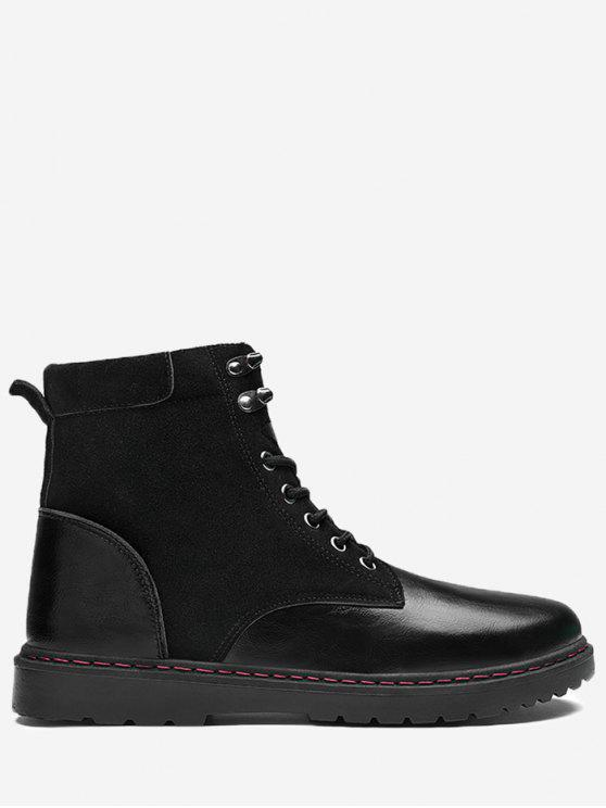 fancy Side Zip Lace Up Front Chukka Boots - LEATHER BLACK 41