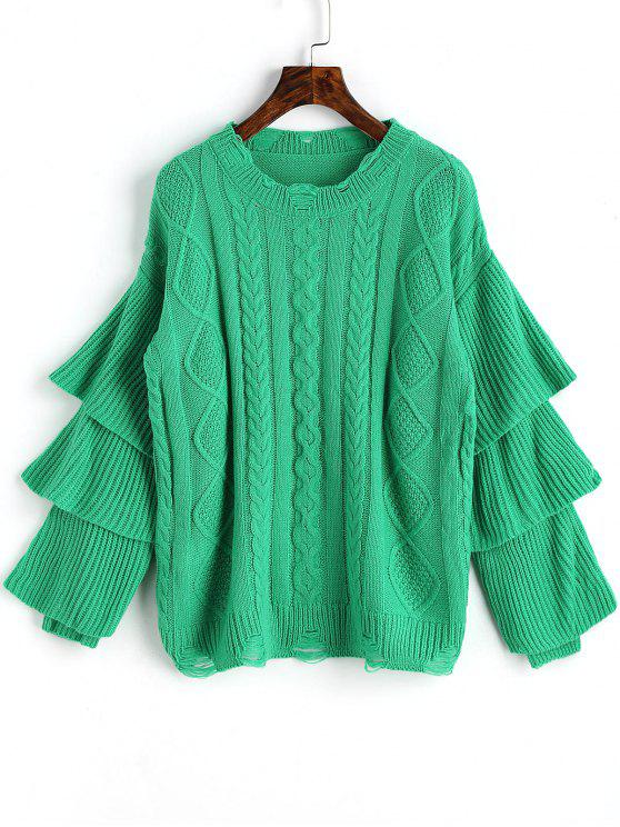 2018 Layered Sleeve Pullover Cable Knit Sweater In Green One Size
