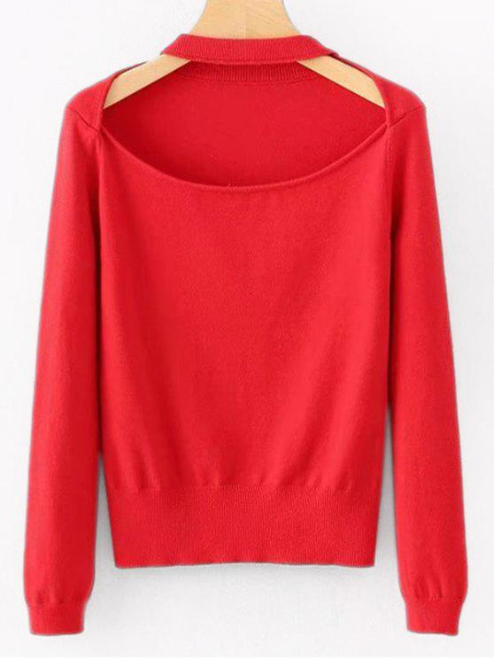 Cut Out Plain Sweater RED: Sweaters ONE SIZE | ZAFUL