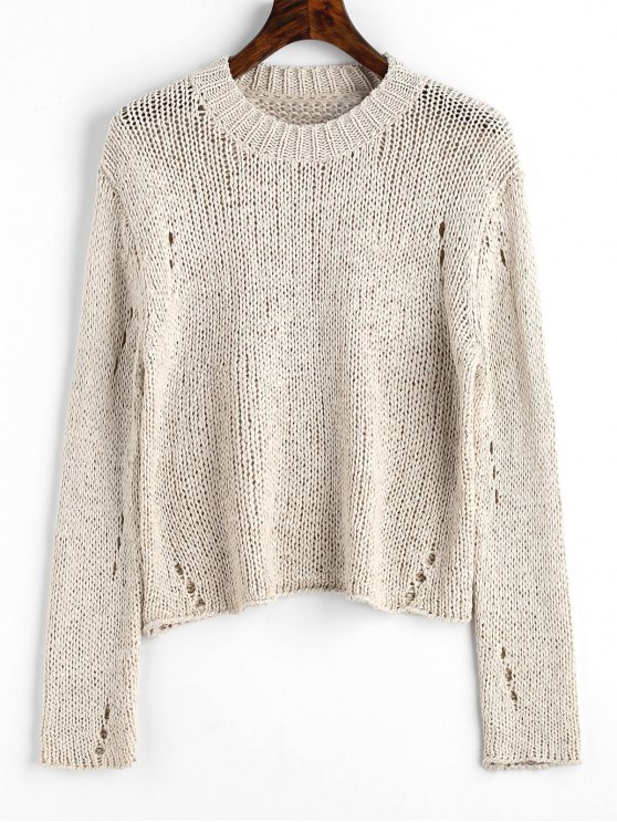 Pullover Ripped Hollow Out Sweater - Apricot Light Única Talla